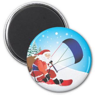 Santa Snowkite Snowboard Pins 6 Cm Round Magnet