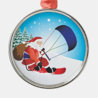 Santa Snowkite Snowboard Premium Ornament