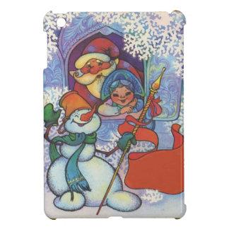 Santa, snowmaiden and snowman iPad mini cover
