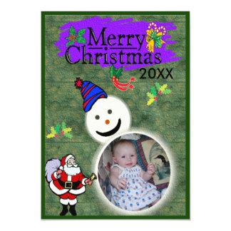 Santa & Snowman 20XX Add Photo Xmas Magnetic Invitations