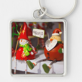 Santa Snowman Holiday Figurines Christmas Decor Silver-Colored Square Key Ring