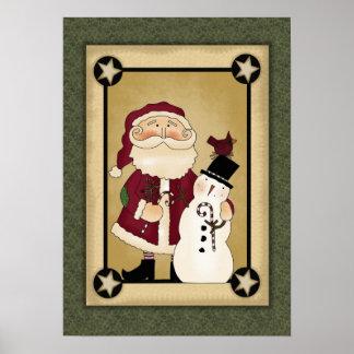 Santa & Snowman Poster