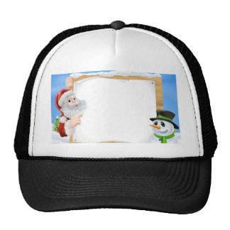 Santa Snowman Snow Scene Hats