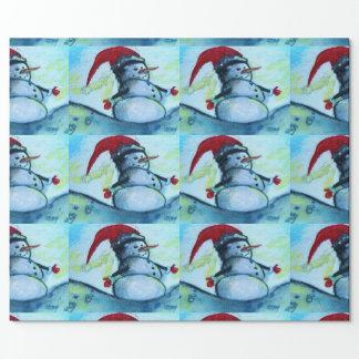 Santa Snowman Wrapping Paper