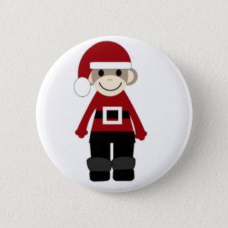 Santa Sock Monkey 6 Cm Round Badge
