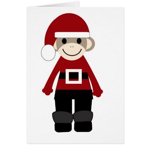 Santa Sock Monkey Greeting Cards