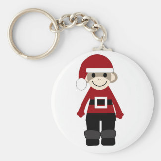Santa Sock Monkey Key Ring