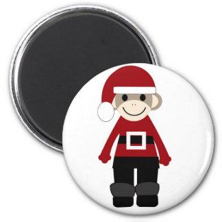 Santa Sock Monkey Magnet