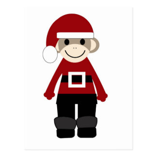 Santa Sock Monkey Postcard