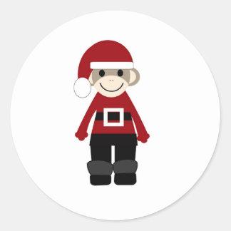 Santa Sock Monkey Round Sticker