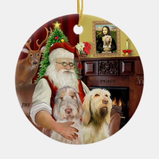 Santa - Spinone Italiano (TWO) Christmas Ornaments