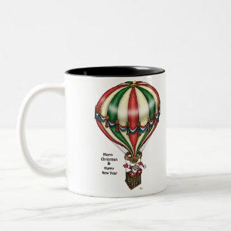 Santa Spreads Good Cheer From Hot Air Balloon Two-Tone Mug