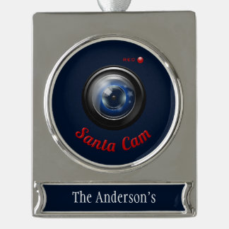Santa Spy Camera Silver Plated Banner Ornament