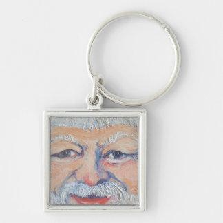 Santa Square Face Silver-Colored Square Key Ring