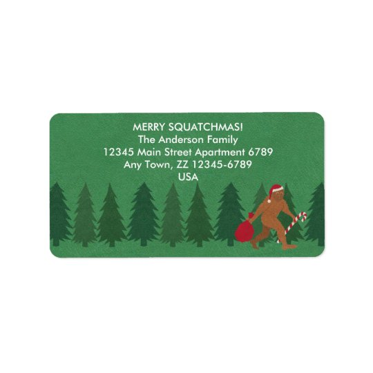 Santa Squatch Christmas Bigfoot Sasquatch Funny Address Label