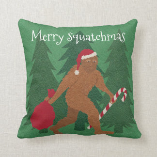 Santa Squatch Christmas To Everyday Reversible Throw Pillow