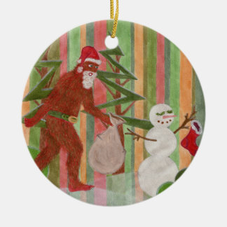 Santa-Squatch: I Believe Double-Sided Ceramic Round Christmas Ornament