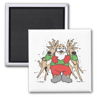 Santa Squeezing two Reindeer's Square Magnet