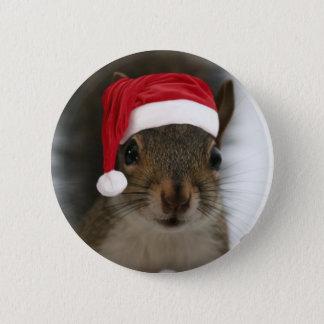 Santa Squirrel 6 Cm Round Badge