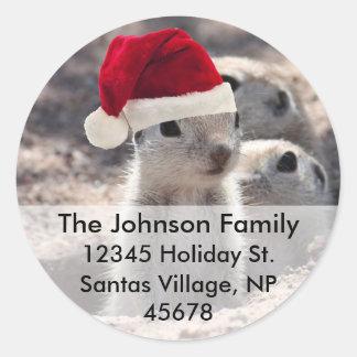 Santa Squirrel Address Labels Round Sticker