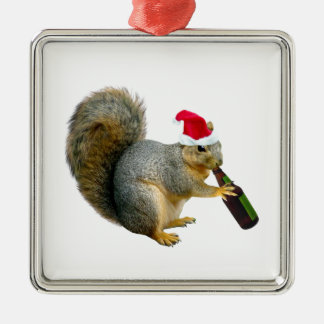 Santa Squirrel Drinking Beer Christmas Ornament