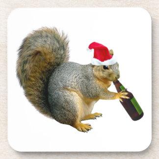 Santa Squirrel Drinking Beer Coaster