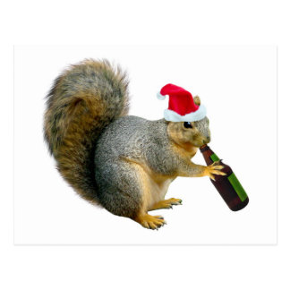 Santa Squirrel Drinking Beer Postcard