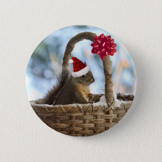 Santa Squirrel in Snow 6 Cm Round Badge