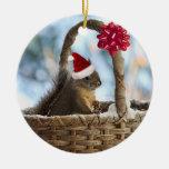 Santa Squirrel in Snow Ornaments