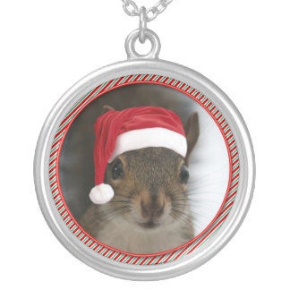 Santa Squirrel™ Wearing Santa Hat Silver Plated Necklace