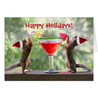 Santa Squirrels Drinking a Cocktail Greeting Card