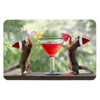 Santa Squirrels Drinking a Cocktail Magnet