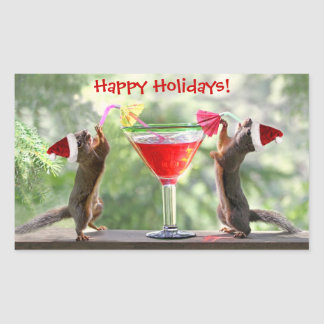 Santa Squirrels Drinking a Cocktail Rectangular Sticker
