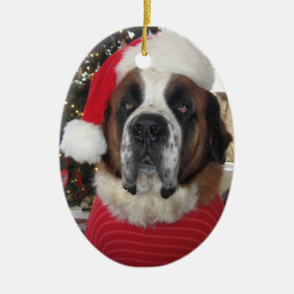 Santa St. Bernard Oval Christmas Ornament