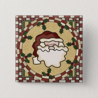 Santa St. Nick Square Christmas Button