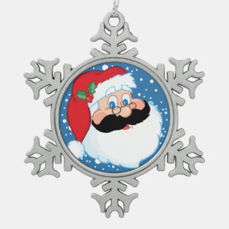 Santa Stache Pewter Snowflake Decoration