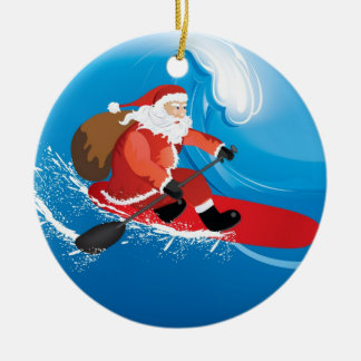 Santa Stand Up Paddle Christmas Ornament