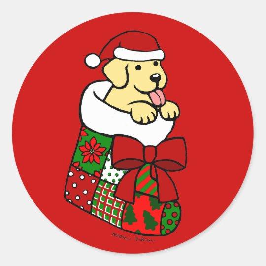 Santa Stocking Yellow Labrador Puppy Cartoon Classic Round