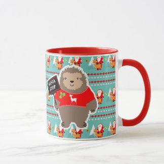 Santa Stop Cute Whimsy Festive Sloth Christmas Mug