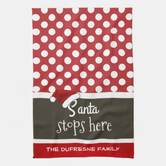 """Santa Stops Here"" Christmas Polka Dots Tea Towel"