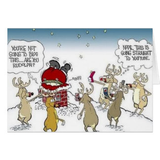 Santa Stuck in Chimney Reindeer Blogging Christmas Greeting Card