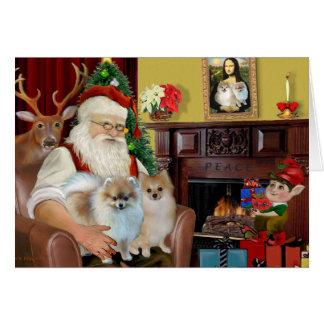 Santa sTwo Pomeranians Greeting Card