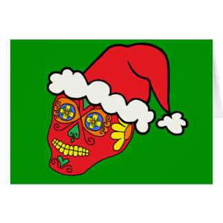 Santa Sugar Skull Greeting Card