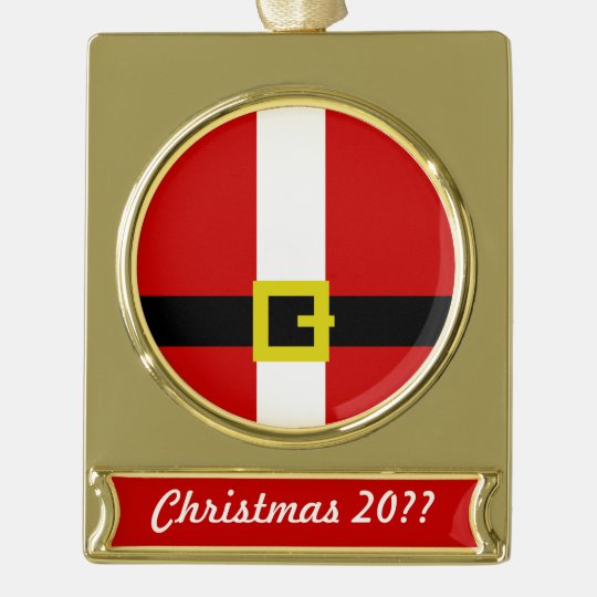 Santa Suit | Christmas 2017 Gold Plated Banner Ornament