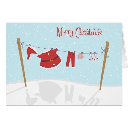 Santa Suit on Clothesline Christmas Card