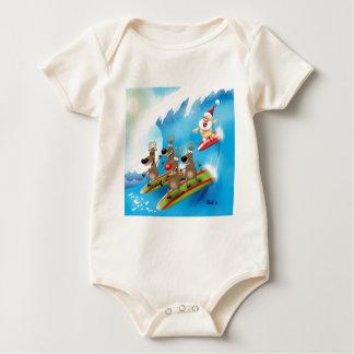 Santa Surfin' Baby Bodysuit
