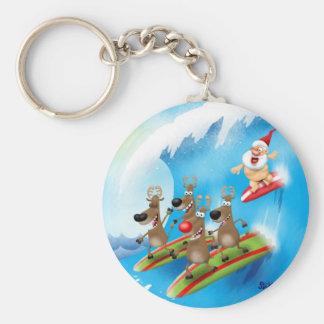 Santa Surfin' Basic Round Button Key Ring