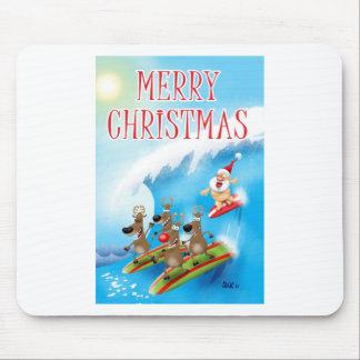 Santa Surfin' Mouse Pad