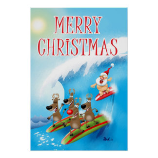 Santa Surfin' Poster