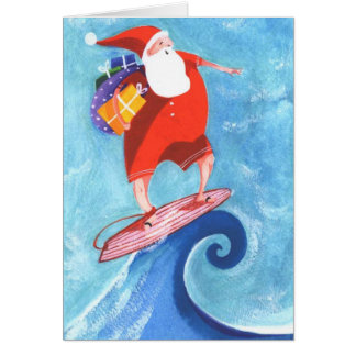 Santa Surfing christmas card